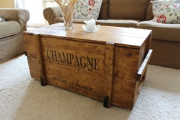 """Uncle Joe´s 75759 Truhe Couchtisch Holzkiste """"Champagne"""", vintage, shabby chic Holz 98 x 55 x 46 cm, Hellbraun -"""