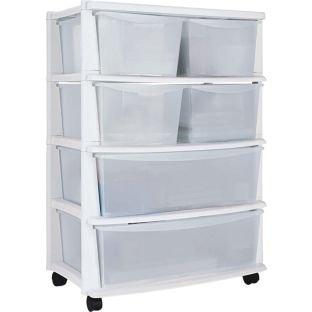 6 Kunststoff weiß breite Schublade Truhentisch -, fertig auf Rollen für einfache Manövrierfähigkeit, Größe H83, W59, D39, 5 cm. -
