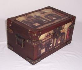 Holz- Kunstlederf - Box, mit Bildern, Antikdesign Nr. 323, Geschenkekiste, Schmuckkiste, ca. 32 x 20 x 17,5 cm -