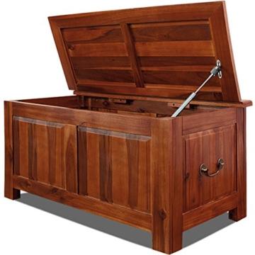 Holztruhe Allzwecktruhe Auflagenbox Holzkiste Wäschetruhe Aufbewahrungsbox Sitzbank Tischtruhe Truhe 85x44x48cm -