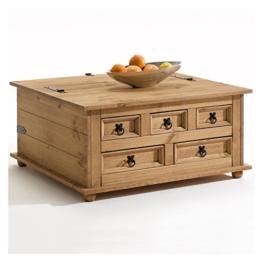 Mexico Möbel Truhentisch TEQUILA Couchtisch Truhe Wohnzimmertisch Beistelltisch im Mexiko Stil mit 5 Schubladen in natur -