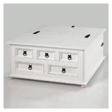 Mexico Möbel Truhentisch TEQUILA Couchtisch Truhe Wohnzimmertisch Beistelltisch im Mexiko Stil mit 5 Schubladen in weiß -
