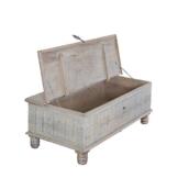 Truhentisch aus Mangoholz massiv weiß gewischt Eisenbeschlag 120x43x60cm - Modell Alledo -