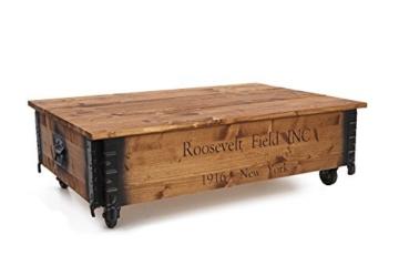 """Uncle Joe´s 75752 Couchtisch """"Roosevelt Field"""", Holz mit klappbarem Deckel, vintage, shabby chic 100 x 65 x 30 cm, Hellbraun -"""