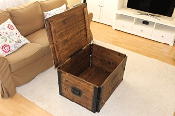 Uncle Joe´s 75756 Truhe Couchtisch Holzkiste, vintage, shabby chic Holz 80 x 55 x 44 cm, Dunkelbraun -