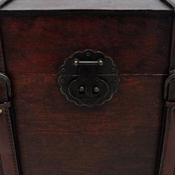 vidaXL Robuste Schatztruhe Holztruhe Truhe mittel Handarbeit Kiste Schatzkiste Holzbox -